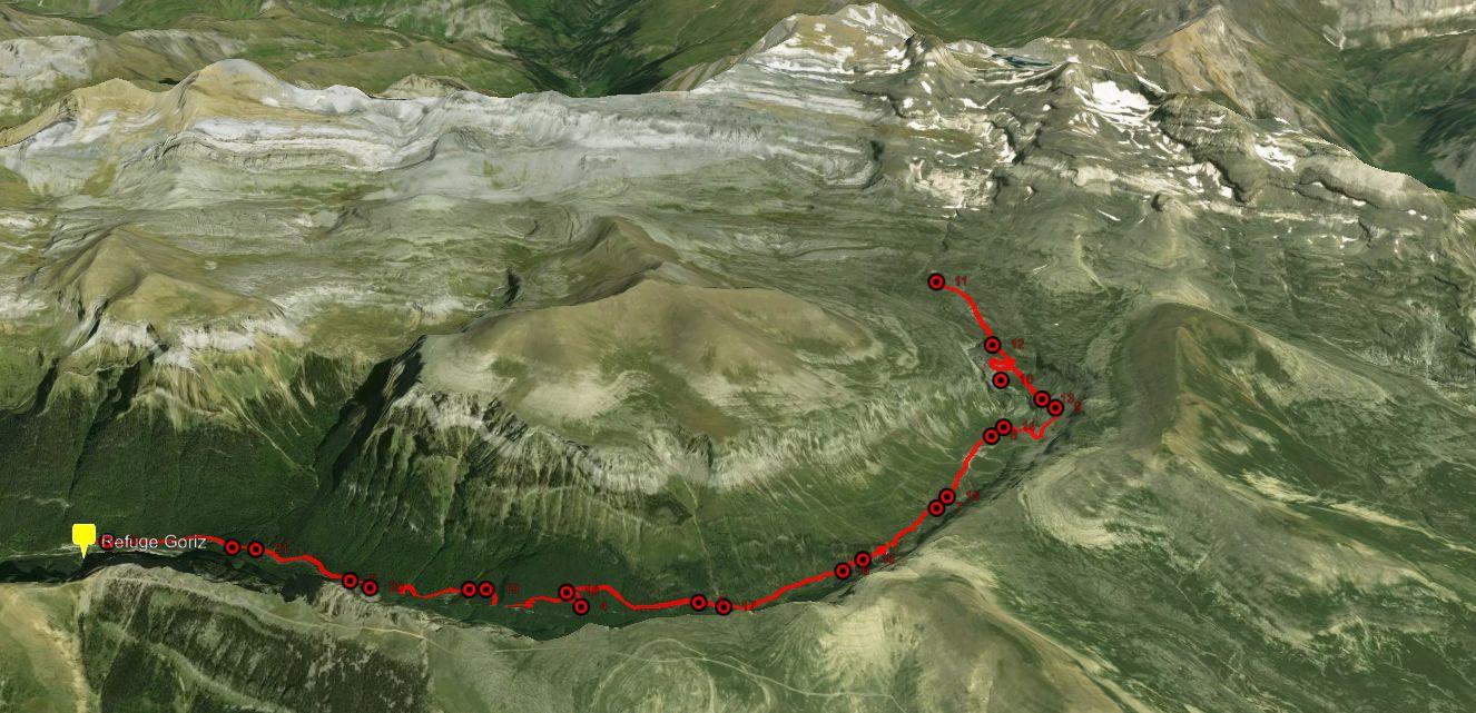 Vue 3D sur le Canyon d'Ordesa et le Mont Perdu