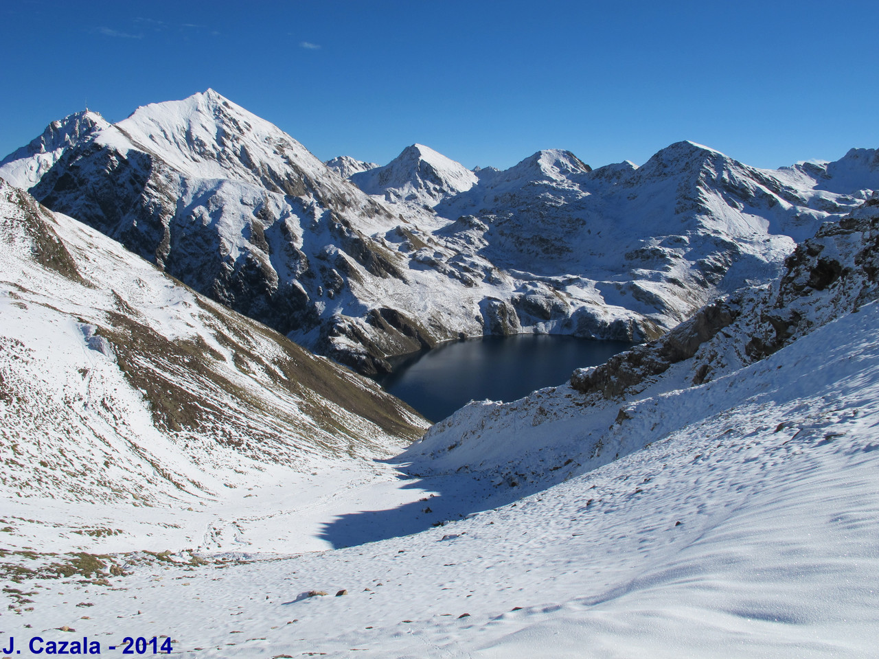 Pic du Midi et Lac Bleu depuis le col de Bareilles